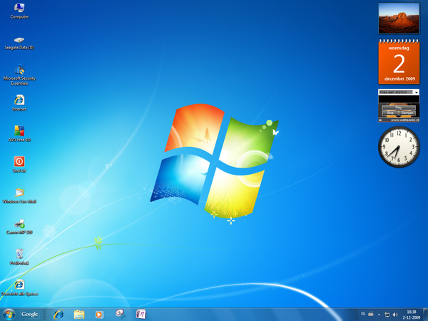 Harmony het eerste bureaublad na windows 7 install for Windows 7 bureaublad