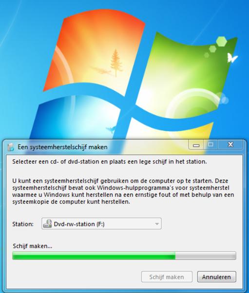 Systeem herstel schijf maken in Windows 7