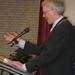 Burgemeester tijdens zijn toespraak