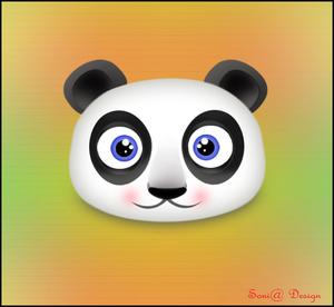 panda getekend in fotoshop