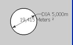 Diameter and surface of a circle