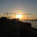 Avondzon boven Scheepswerf BODEWES in Millingen aan de Rijn