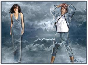 Even de kleding veranderd in wolken