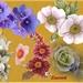 bloemen op goud