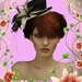 Dame met hoed in kader