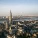 Antwerpen   luchtzicht op OLV kathedraal en  Schelde