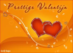 geel en oranje valentijn kaartje
