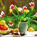 bloem - vaas beschilderd