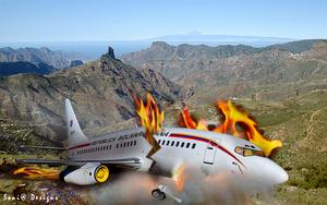 vliegtuig ongeval gemaakt in fotoshop