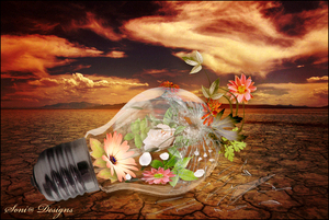 lamp met bloemen