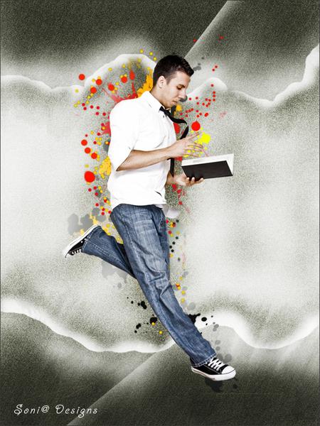man met boek