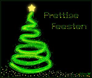 Prettige feesten kerstboom met pen dubbel lijnen
