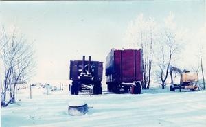 Aanhangers in de sneeuw