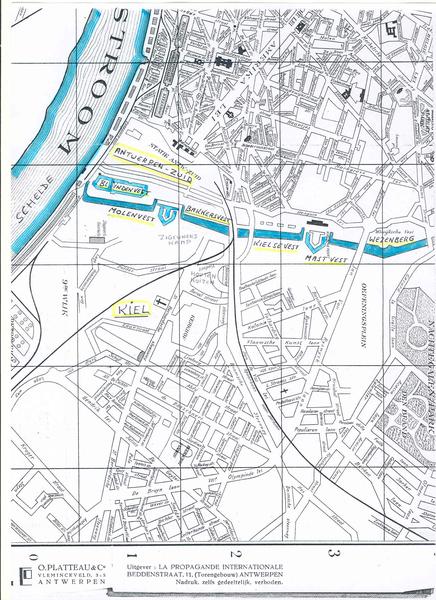 Kaart met Antwerpse Vesten 1960