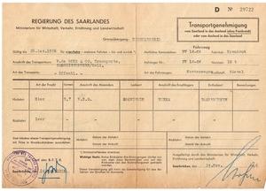 Transportvergunning naar Duitsland 1056