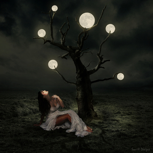 vrouw onder boom 0