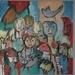 mens en dier  - het pleintje  - 50x50