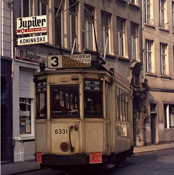 Wolstraat - cafe koninske - Tram 3 (197....)