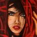 Vrouw met rode hoofddoek