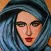 Meisje met blauwe hoofddoek