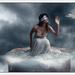 dame in de wolken