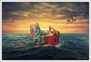 vrouw op koffer
