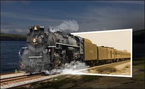 stoom trein uit kader