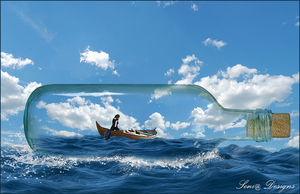 fles in de zee