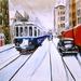 De Blauwe in de sneeuw