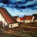 Dorpszicht naar schilderij van M. De Vlaminck