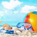 zomer-wallpaper-strandbal-snorkel-duikbril-zeester-schelpen-paras