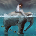 fantasy-wallpaper-with-girl-and-elephant-in-ocean