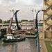 Staalconstructie voor de Viking Piper onderweg naar Gust