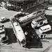 1961 Trambotsing op het Spui hoek Grote Marktstraat