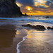 hd-strand-achtergrond-met-strand-en-zee-wallpaper