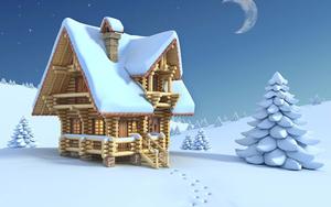 hd-winter-achtergrond-3d-huis-in-de-sneeuw-winter-wallpaper