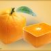 vierkante sinaasappel en stukje