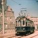 De Blauwe Tram op beginpunt te Scheveningen jaren vijftig