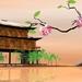 3d-orientalische-landschaften-hintergrundbilder-mit-haus-auf-dem-