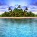 landschaft-mit-insel-im-meer-und-strand-baume-palmen-blauen-himme