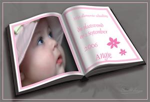 Fotos en tekst op het boek geplaatst