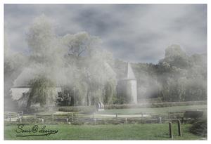 mist gemaakt  op zonnige foto