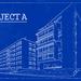 gebouw transformeren in blauwe afbeelding