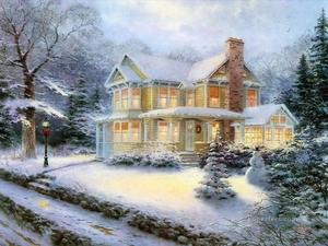 4-Victorian-Christmas-III-Thomas-Kinkade-snowing
