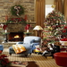 Southern-Living-Christmas-Decorations-with-Blue-Sofa