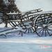 Antieke wagen in de sneeuw