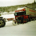 Weg gegleden in de sneeuw